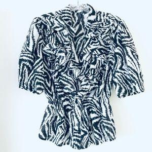 Nine West | Zebra Ruffle Front Short Sleeve Blouse